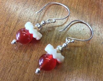 Carnelian and Silver Dangles with Trade Beads