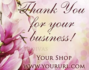 Pink Magnolia Blossoms Custom Designer Square Glossy Labels