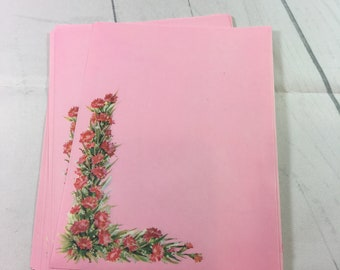 Vintage Deluxe Stationery by Fantus Paper Products Stationery Set / 30 stationery sheets + 20 envelopes / pink paper with red flowers