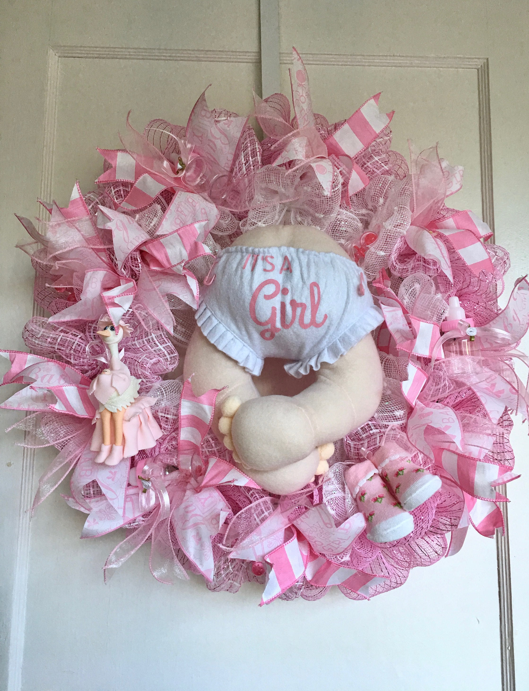 Baby Girl Shower Wreath, Baby Girl Wreath, Baby Girl Pink Wreath, Baby Girl  Door Decoration, Baby Girl Gift, Baby Girl Shower Gift,