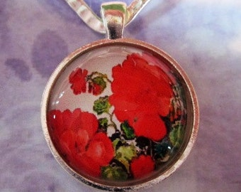 Red Geranium Pendant or Scarf Slide, scarf jewelry, scarf ring