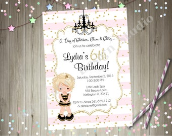 glamour party birthday invitation dress up party invite diva party glam girl Hollywood Pink and gold birthdy party CHOOSE YOUR GIRL
