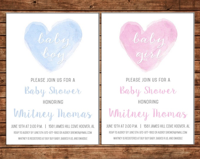 Boy or Girl Invitation Watercolor Heart Baby Shower Birthday Party - Can personalize colors /wording - Printable File or Printed Cards