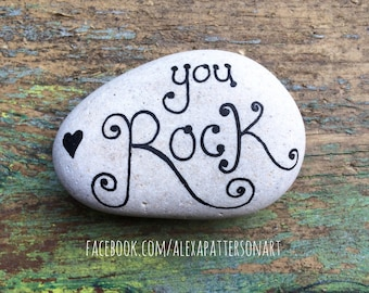 Painted pebble, hand painted gift stone, Valentine's gift, beachlover gift