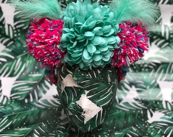 Mint and pink pom pom and feather headpiece