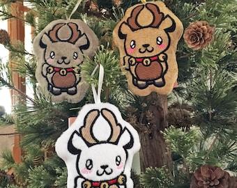 Kawaii Christmas Reindeer Plush Ornament