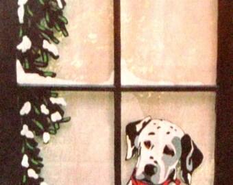 Dalmation, Painted Window, Custom Pet Portrait, Dog Art, Pet Loss Memorial, Wall Hanging, Recycled Art, Original Painting, Home Decor, Pet