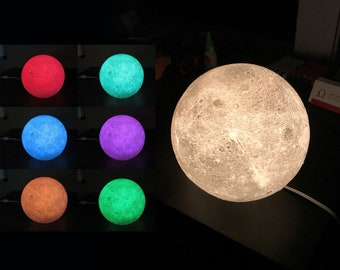 Large 21cm MOON Lamp Light | Glowing 3D Lunar Surface | Multi Color LED  Nightlight