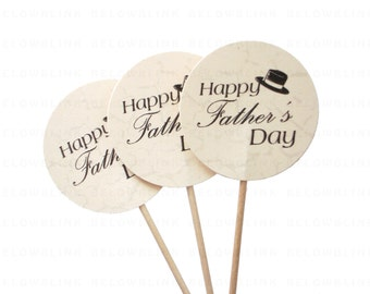 10 Happy Father's Day  Cupcake Toppers, Food Picks, Toothpicks, Party Picks - party supplies - No1063