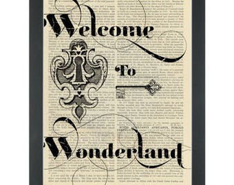 Alice in wonderland quote Welcome to Wonderland bedroom Dictionary Art Print