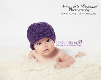 Crochet PATTERN - Girls Newsboy Hat Crochet Pattern - Crochet Patterns - Crochet Hat Pattern - Baby, Toddler, Kids, Adult Sizes - PDF 185