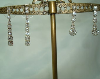 Two pairs of Sparkling Dangly Rhinestone Earrings.