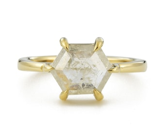 Hexagon Rose Cut Diamond Ring, 14K Gold Ice Diamond Engagement Ring, Size 6 Resizing Available