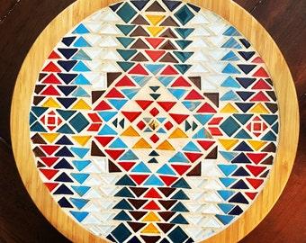 "14"" Southwestern mosaic and bamboo lazy susan"