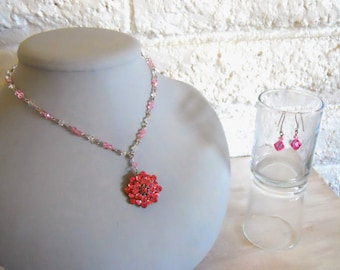 Vintage pink brooch made into a necklace and earring set