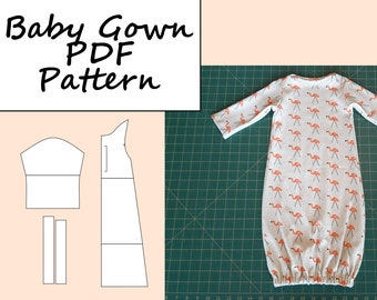 Baby Gown PDF Sewing Pattern, Digital Download, Infant Gown, Newborn Gift, Baby Shower Gift, Gender Neutral, Instant Download, up to 3m