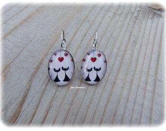 "Earrings ""Cats in love # 2"" - Oval Cabochon 15 x 20 mm"