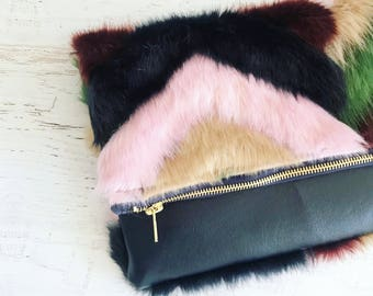 Rainbow Faux Fur and Navy Faux Leather Foldover Clutch - Gift for her, Birthday, Anniversary, Bridesmaid
