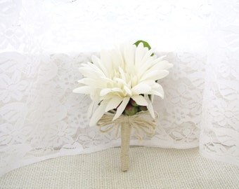 Set of 4 Pieces Creamy White Daisy Corsages / Boutonnieres, Daisy Boutonnieres, White Wedding Corsage, Wedding Boutonniere, Wedding Floral