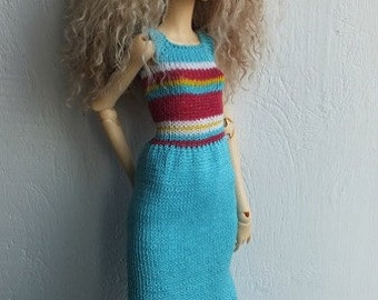 Handmade knitted cotton dress specially for Doll Chateau Kid and others