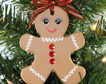 Hand painted Ceramic Gingerbread Girl Ornament with Multi Colored Swarovski Rhinestone Buttons