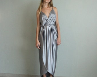 Silver Dress, Bridesmaid Dress, Open Back Dress, Boho Dress, Long Dress, Maxi Dress, Tunic Dress, Spring Dress, Casual Dress, Loose Dress