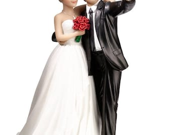 Wedding Cake Topper, Bride and Groom Cake Top, Wedding Cake Decorations, Bride and Groom Selfie Cake Topper