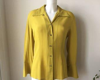 Mustard silk blouse vintage 90's tailored silk blouse button front  open collar  minimalist glam