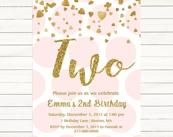 Pink and Gold 2nd Birthday Invitation Girl, Any Age Pink Gold Heart Confetti Girl Second Birthday, TWO, Third Polka Printable Digital JPEG