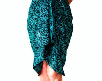 PLUS SIZE Clothing Sarong Dress or Skirt - Extra Long Beach Sarong Batik Pareo Wrap - Black & Teal Sarong Cover Up - Plus Size Swimwear