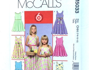 McCall's M5033 Girls' Dress Pattern, Sundress, Easy Pattern, Size 7, 8, 10, 12, Uncut Pattern