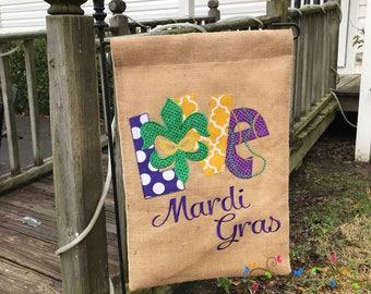 Love Mardi Gras Garden Flag