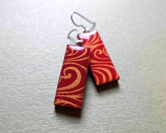 Gold Earrings, Red Earrings, Japanese Paper Earrings, Japanese Paper Jewelry, Japanese Jewelry, Japanese Earrings, Chiyogami Earrings