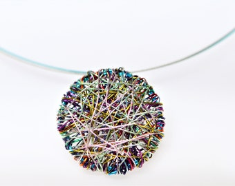 Round necklace, purple turquoise, minimalist jewelry, contemporary wire jewellery, geometric necklace, Christmas gift ideas