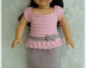 American Girl Knit Chain Stitch Top and Skirt (Knitting Pattern)