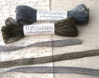 "Metallic Cluny Lace Trim in Antique Silver or Antique Gold Color 9/16"" width New (3 yards)"