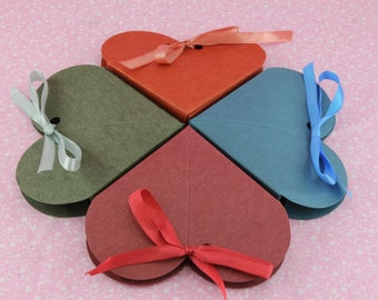 50 Heart Bow Favor Box. Wedding, Bridal Shower, Baby Shower, Party Favor Gift.