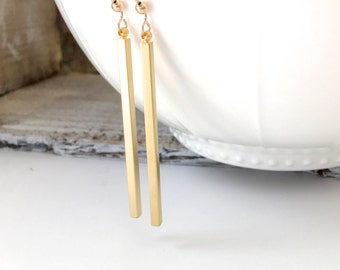 Long Bar Dangle Earrings, Silver Bar Earrings, Rose Gold Long Bar Earrings, Gold Spear Earrings, Silver Drop Bar Earrings