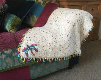Handmade wool Lap Blanket/ Throw