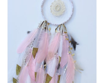 """6"""" Pink Doily Feather Dreamcathcer"""