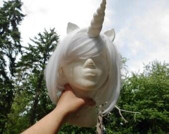 Unicorn Wig White Unicorn Horn Costume Wig Short Bob My Little Pony Cosplay MLP