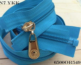 Large TURQUOISE Separable zipper or not, classic or Reversible Invisible long 80 cm Maxi slider gold silver Bronze gun