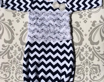 Lace Gown,Take Home Outfit, Newborn Gown, Blue Newborn Outfit, Chevron Newborn Gown, Baby Layette Gown, Navy Newborn Outfit, Blue Gown