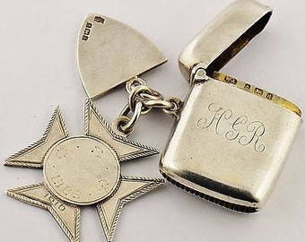 Hallmarked Antique Solid Silver Albert Chain Vesta Case With Two Silver Fobs - 1903