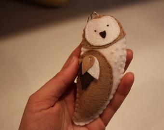 Owl Christmas Ornament, wool felt, hand-stitched