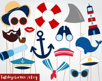 Nautical Photo Booth - Nautical Photobooth - Cruise Photobooth - Photobooth Props - Sailor Party- Anchors Away- Sailor props - boat props