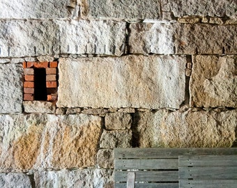 Brick wall, Wooden Bench, Stone, Historic, Fort Warren, red, white, brown, wood, photograph
