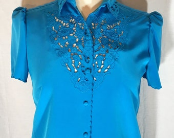 Vintage Early 1980s Sasson Turquoise/Blue Top And Skirt NWT Size 6/7