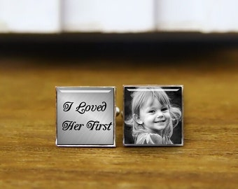 custom photo cufflinks, father of the bride cuff links, i loved her first, personalized cufflinks, custom round, square cufflinks, tie clips