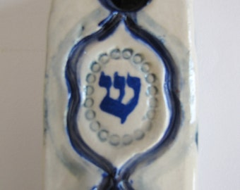 Ceramic Blue and White Mezuzah Case Handpainted With Stamping Design